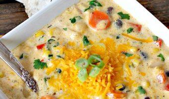 Cheesy Corn and Black Bean Chowder