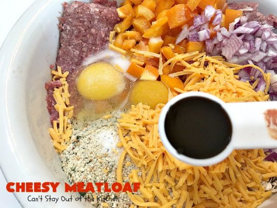 Cheesy Meatloaf | Can't Stay Out of the Kitchen | This amazing #meatloaf is filled with #cheddarcheese & topped with a #ketchup, mustard & brown sugar topping. This #glutenfree #entree uses #oatmeal & GF bread crumbs. #beef #groundbeef