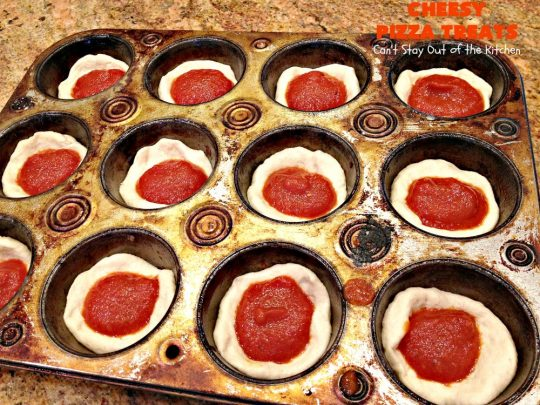 Cheesy Pizza Treats | Can't Stay Out of the Kitchen | spectacular 4-ingredient #appetizer that's terrific for #tailgating, #NewYearsEve or #SuperBowl parties. Kids & adults alike love miniature #pizza. #pepperoni #mozzarella