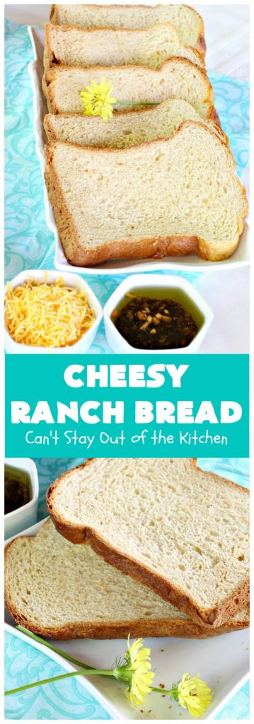 Cheesy Ranch Bread | Can't Stay Out of the Kitchen | this easy #Breadmaker #bread is sensational! It uses #RanchDressingMix, #CheddarCheese & #GreekYogurt. It just explodes with flavor! Terrific side dish for family, company or #holiday dinners. #CheesyRanchBread #HomemadeBread #BreadmakerBread #EasyHomemadeBreadRecipe