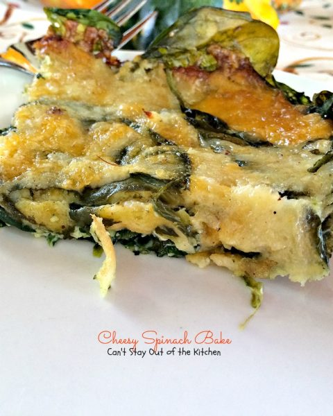 Cheesy Spinach Bake | Can't Stay Out of the Kitchen |this #casserole uses fresh #spinach and is covered in a #cheese and #mustard sauce. #glutenfree