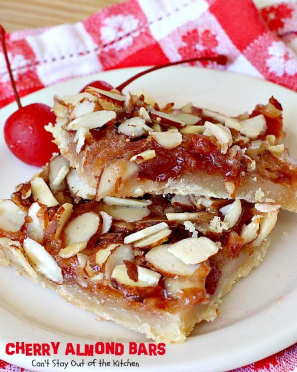 Cherry Almond Bars | Can't Stay Out of the Kitchen | these luscious bars will have you drooling! This makes a festive and beautiful #cookie for #holiday baking, too. #dessert #cherrypreserves #almonds