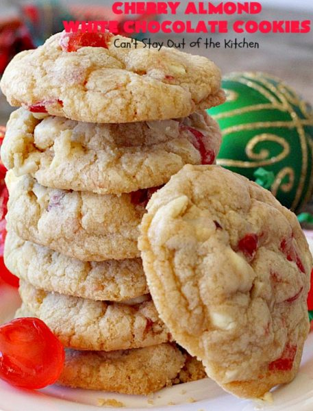 Cherry Almond White Chocolate Cookies | Can't Stay Out of the Kitchen | these terrific #cookies are perfect for the #holidays. They're festive & beautiful along with being so scrumptious. #cherries #almonds #chocolate #dessert