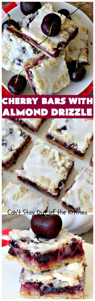 Cherry Bars with Almond Drizzle | Can't Stay Out of the Kitchen
