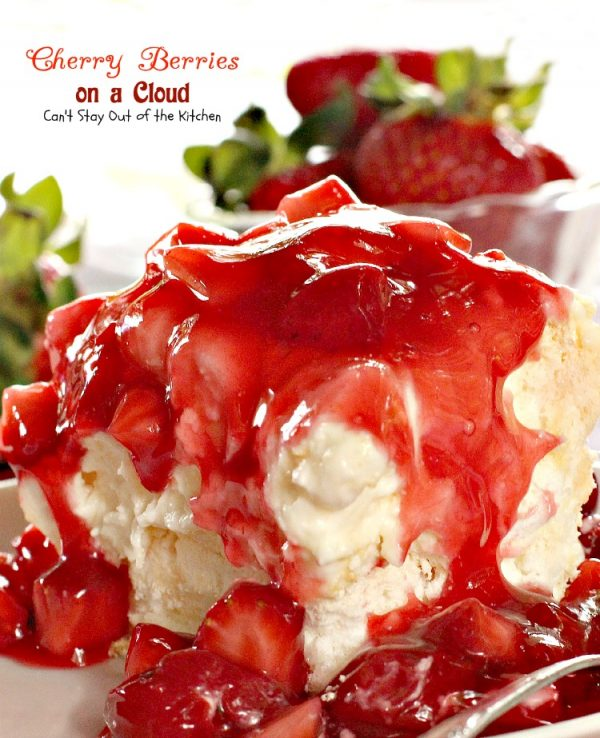 Cherry Berries on a Cloud | Can't Stay Out of the Kitchen | we love this absolutely spectacular #dessert that's great for the #holidays. This one has a #meringue crust, a #marshmallow and #creamcheese layer and topped with #cherrypiefilling and #strawberries.