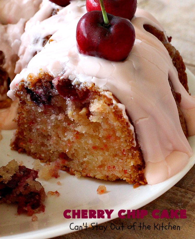 Cherry Chip Cake | Can't Stay Out of the Kitchen | this #dessert is rich & decadent. It uses #FreshCherries & #VanillaChips which dissolve into the #cake while #baking. The flavors of #cherry & #vanilla just pop in this heavenly cake. Make it now while #cherries are in season! #CakeMix #CherryChipCake #CherryChipCakeMix #CherryDessert #FreshCherryCake #Canbassador #NWCherries #NorthwestCherryGrowers