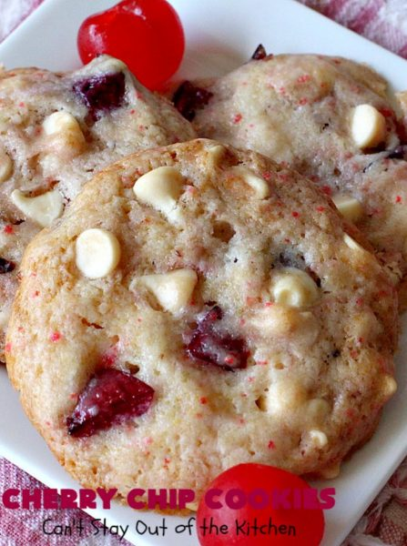 Cherry Chip Cookies | Can't Stay Out of the Kitchen | these fantastic 5-ingredient #cookies use #FreshCherries & #VanillaChips. They are totally awesome & a wonderful #summer #dessert when #cherries are in season. #FourthOfJuly #holiday #HolidayDessert #CherryDessert #CherryCookies CherryChipCookies #Canbassador #NWCherries #NorthWestCherryGrowers