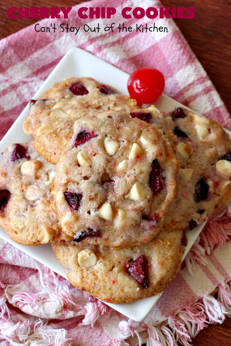 Cherry Chip Cookies   Can't Stay Out of the Kitchen   these fantastic 5-ingredient #cookies use #FreshCherries & #VanillaChips. They are totally awesome & a wonderful #summer #dessert when #cherries are in season. #FourthOfJuly #holiday #HolidayDessert #CherryDessert #CherryCookies CherryChipCookies #Canbassador #NWCherries #NorthWestCherryGrowers