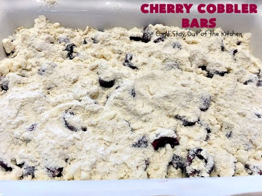 Cherry Cobbler Bars | Can't Stay Out of the Kitchen | this spectacular #cherry #dessert is filled with fresh #cherries & #almond extract in the filling and crust. It's ooey, gooey & so delicious for a summer dessert when cherries are in season. #cookies #cherrydessert #Canbassador #NorthwestCherryGrowers