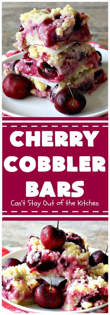 Cherry Cobbler Bars | Can't Stay Out of the Kitchen