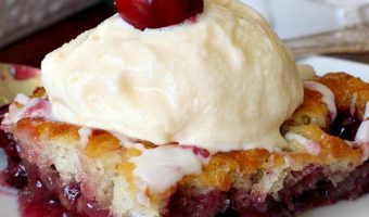 Cherry Cobbler with Almond Glaze