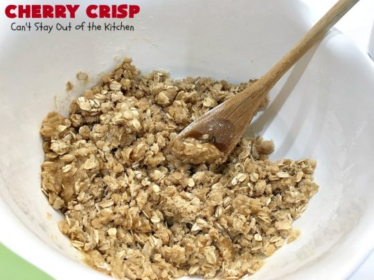 Cherry Crisp | Can't Stay Out of the Kitchen | this fantastic #recipe is the perfect #dessert now that #FreshCherries are in season. It's flavored with #AlmondExtract & has a delightful #Oatmeal topping. Terrific for potlucks, backyard barbecues & summer #holiday fun like #FourthOfJuly. #cherries #CherryCrisp #CherryDessert #HolidayDessert #NorthwestCherries #NorthwestCherryGrowers #NWCherries #Canbassador #NWCherryGrowers