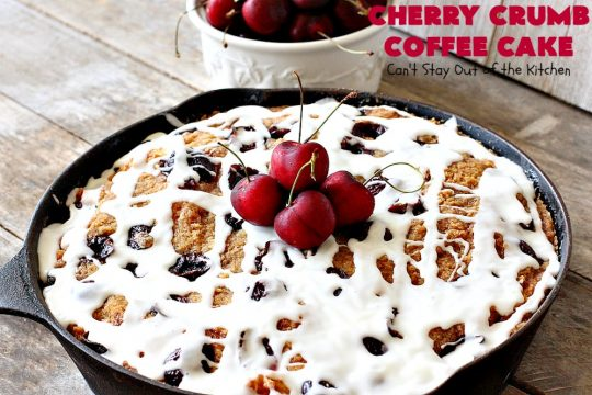 Cherry Crumb Coffee Cake | Can't Stay Out of the Kitchen | this fantastic #cake is filled with fresh #cherries, topped with a streusel topping & glazed with a powdered sugar icing. Terrific for a summer #dessert or #breakfast #coffeecake when cherries are in season. #Canbassador #NorthwestCherryGrowers