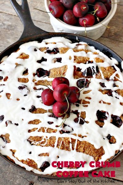 Cherry Crumb Coffee Cake | Can't Stay Out of the Kitchen | this fantastic #cake is filled with fresh #cherries, topped with a streusel topping & glazed with an #almond powdered sugar icing. Terrific for a summer #dessert or #breakfast #coffeecake when cherries are in season. #Canbassador #NorthwestCherryGrowers