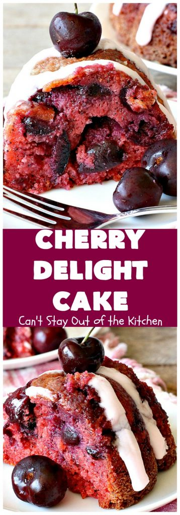 Cherry Delight Cake | Can't Stay Out of the Kitchen | Prepare to be WOWED by this fantastic #cherry #cake. This one is super moist & is absolutely delicious. It starts with a boxed #cakemix & cherry #gelatin. #dessert #cherrydessert #cherrycake