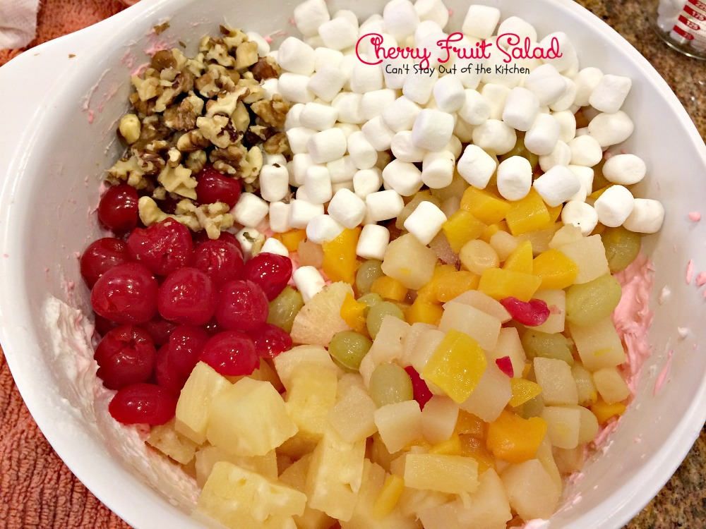 fruit salad with whipped cream and marshmallows