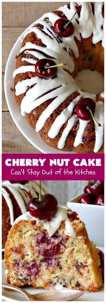 Cherry Nut Cake | Can't Stay Out of the Kitchen | this vintage #recipe uses #FreshCherries, #CherryChipCakeMix, #Pecans & #coconut. It's absolutely mouthwatering & will surely cure any sweet tooth craving you have. Great #summer #dessert when #cherries are in season. #CherryNutCake #CherryCake #CherryDessert #Holiday #cake #HolidayDessert #Fourth of July Dessert #FavoriteCherryCake