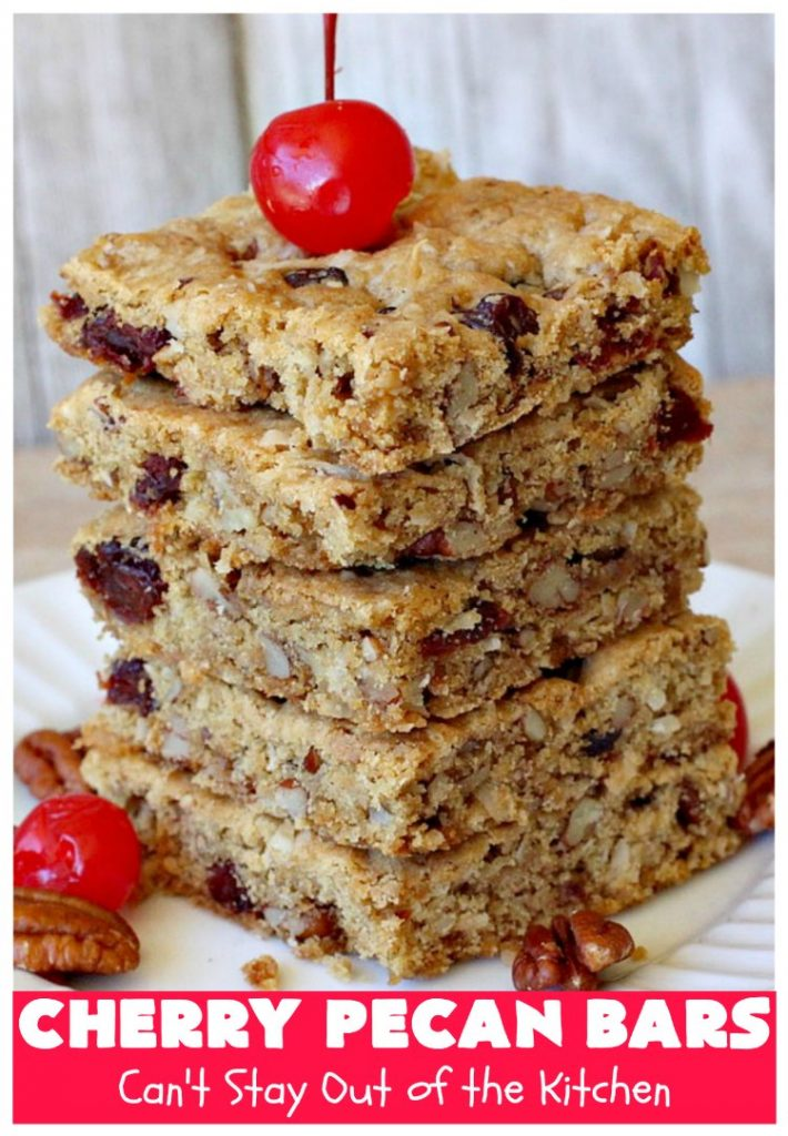 Cherry Pecan Bars | Can't Stay Out of the Kitchen | these crunchy bar-type #cookies are sensational. Perfect for backyard BBQs, potlucks, #tailgating or office parties or summer #holidays. #cherries #coconut #DriedCherries #pecans #brownie #dessert #CherryDessert #HolidayDessert #CherryPecanBars