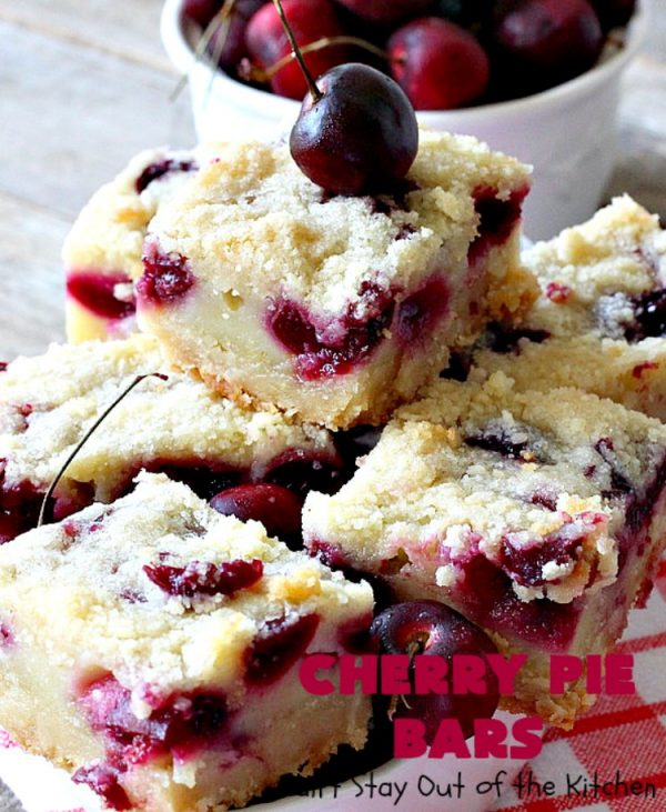 Cherry Pie Bars | Can't Stay Out of the Kitchen | These spectacular #cookie-type bars have the taste of #cherrypie without all the work! They're fantastic for summer potlucks when fresh #cherries are in season. #dessert #cherrydessert #Canbassador #NorthwestCherryGrowers