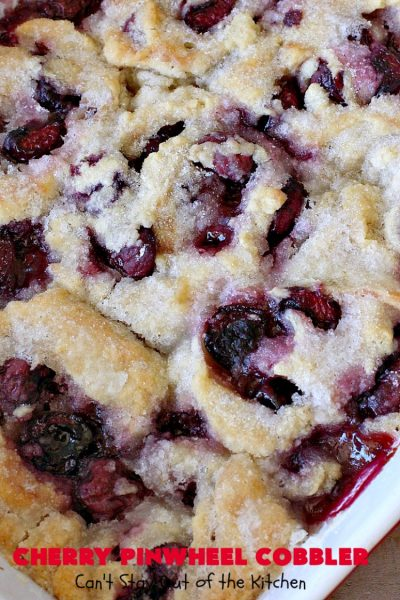 Cherry Pinwheel Cobbler   Can't Stay Out of the Kitchen   this awesome #dessert rolls up #almond flavored #cherries in #PieCrust. A syrup is poured over top before baking. Terrific #CherryDessert while #FreshCherries are in season. #cobbler #CherryCobbler #CherryPinwheelCobbler #Summer #SummerDessert #NorthwestCherryGrowers #NWCherries #Canbassador