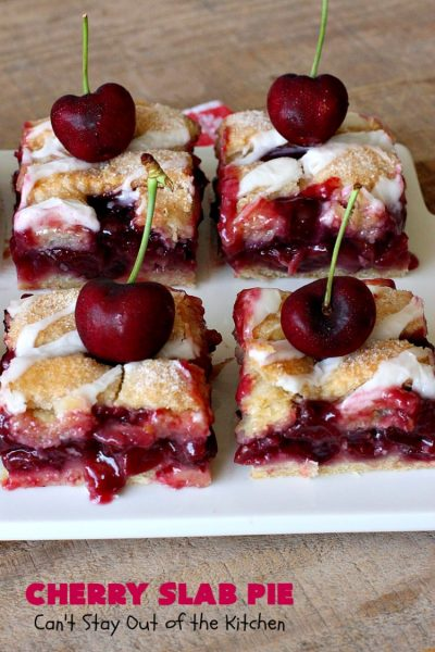 Cherry Slab Pie | Can't Stay Out of the Kitchen | this irresistible #pie is outrageously delicious. It's terrific to serve in the #summer when #FreshCherries are in season. We like it for #Tailgating parties, potlucks, Family Reunions or backyard BBQs. #dessert #CherryDessert #CherrySlabPie #Holiday #cherries #HolidayDessert #FourthOfJulyDessert #NWCherries #NorthwestCherryGrowers #Canbassador #FavoriteCherryPie #CherryPie