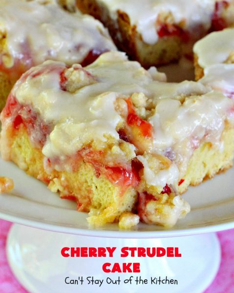 Cherry Strudel Cake | Can't Stay Out of the Kitchen | this rich, decadent #cake is absolutely divine! It's perfect for either a #holiday #breakfast or for #dessert. It uses #CherryPieFilling in the middle, a streusel topping & icing with #almond extract. Tastes like eating #CherryStrudel but so much easier! #coffeecake #CherryCoffeecake #CherryCake #Brunch #HolidayBreakfast #CherryDessert #CherryStrudelCake
