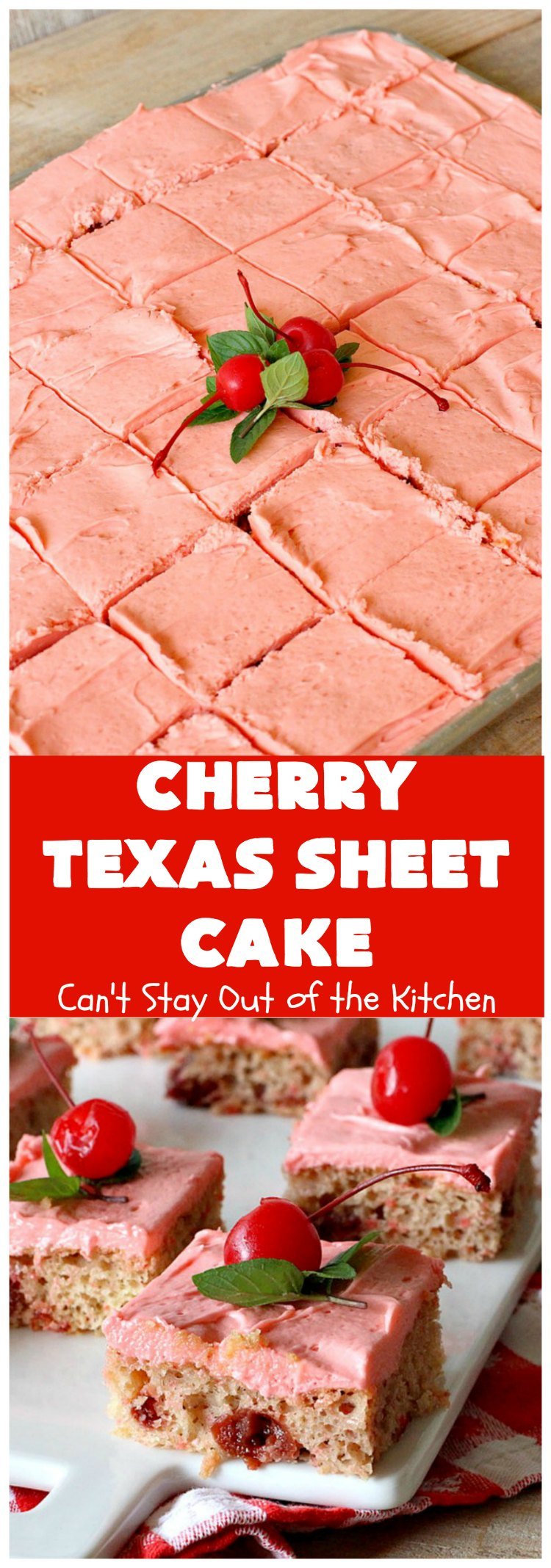 Cherry Texas Sheet Cake | Can't Stay Out of the Kitchen | this luscious #cake will knock your socks off! This mouthwatering #recipe will feed a crowd so it's great for #holidays or company. The #CreamCheese icing is wonderful. #dessert #HolidayDessert #CherryDessert #TexasSheetCake #CherryTexasSheetCake