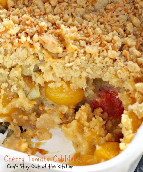 Cherry Tomato Cobbler | Can't Stay Out of the Kitchen | this is my favorite way to serve #tomatoes. This fantastic #cobbler is a great side dish for #Easter or other #holidays. #glutenfree