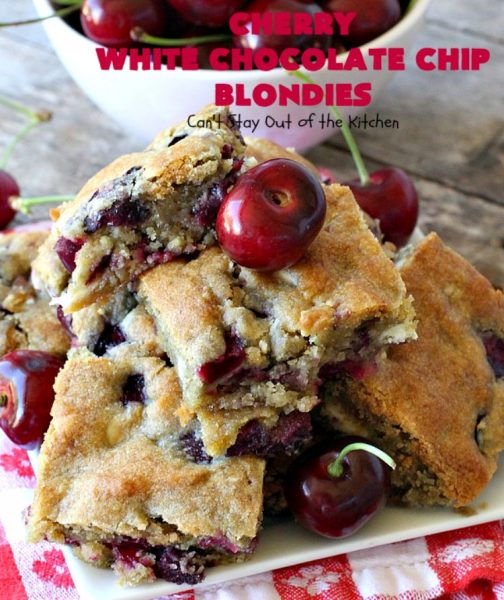 Cherry White Chocolate Chip Blondies | Can't Stay Out of the Kitchen | these fantastic #brownies will have you drooling after the first bite. They're filled with white #chocolate chips & fresh #cherries & they're absolutely awesome! #cookie #dessert #cherrydessert #Canbassador #NorthwestCherryGrowers