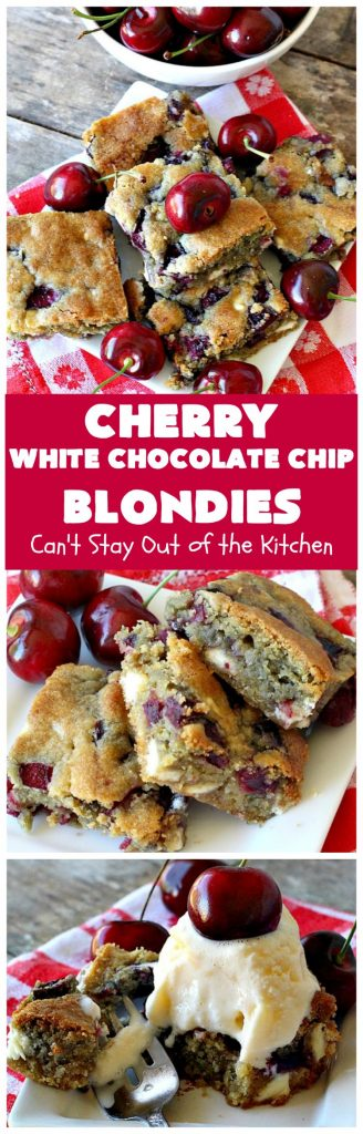 Cherry White Chocolate Chip Blondies | Can't Stay Out of the Kitchen