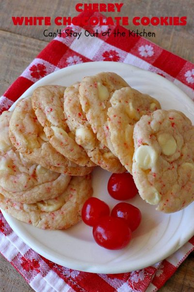 Cherry White Chocolate Cookies | Can't Stay Out of the Kitchen | these luscious #cookies only use 4 ingredients! They start with a #CherryChipCakeMix so they're incredibly easy. This irresistible #dessert is great for #tailgating, potlucks or special occasions like #ValentinesDay, a #ChristmasCookieExchange or #FourthOfJuly when red is the theme. #Chocolate #recipe #WhiteChocolateChips #ChocolateDessert #HolidayDessert #CherryDessert #CherryWhiteChocolateCookies