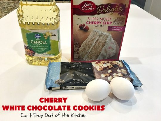 Cherry White Chocolate Cookies   Can't Stay Out of the Kitchen   these luscious #cookies only use 4 ingredients! They start with a #CherryChipCakeMix so they're incredibly easy. This irresistible #dessert is great for #tailgating, potlucks or special occasions like #ValentinesDay, a #ChristmasCookieExchange or #FourthOfJuly when red is the theme. #Chocolate #recipe #WhiteChocolateChips #ChocolateDessert #HolidayDessert #CherryDessert #CherryWhiteChocolateCookies