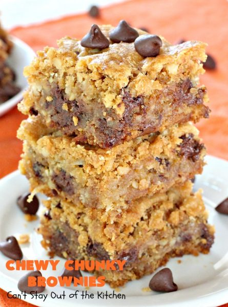 Chewy Chunky Brownies | Can't Stay Out of the Kitchen | these spectacular #brownies include #ChocolateChips #HeathEnglishToffeeBits, #coconut & #walnuts. They are ooey, gooey & so heavenly. Perfect for #tailgating, potlucks, backyard BBQs & summer #holiday fun like #FourthOfJuly & #LaborDay. #dessert #ChocolateDessert #cookie #chocolate #ToffeeDessert #ChewyChunkyBrownies #HolidayDessert