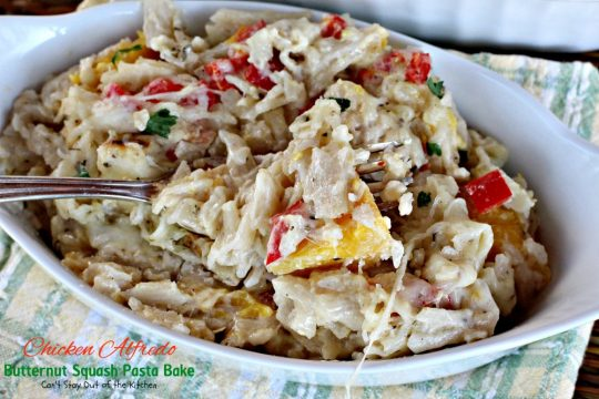 Chicken Alfredo Butternut Squash Pasta Bake | Can't Stay Out of the Kitchen | wonderful #alfredo dish even your kids will enjoy. Made with #chicken #butternutsquash and #glutenfree #pasta.