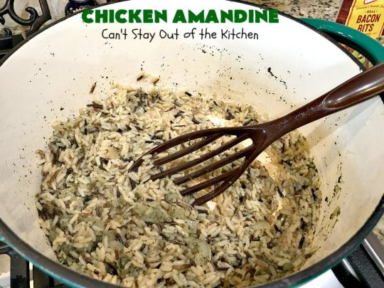 Chicken Amandine | Can't Stay Out of the Kitchen | fantastic dinner #casserole with #chicken, #rice #GreenBeans, #almonds & #bacon. A satisfying comfort food #recipe! #GlutenFree #ChickenAmandine