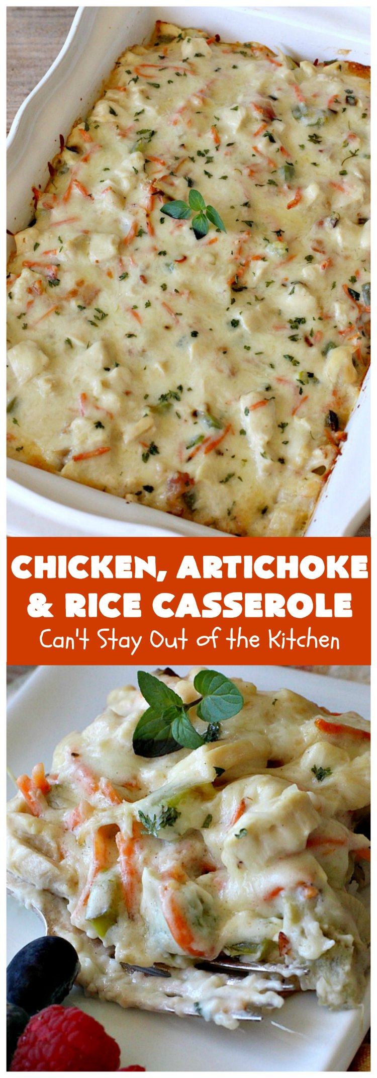 Chicken, Artichoke and Rice Casserole | Can't Stay Out of the Kitchen | this lovely #ChickenCasserole is perfect for company & tastes utterly amazing. #chicken #rice #carrots #artichokes #casserole #ChickenArtichokeAndRiceCasserole