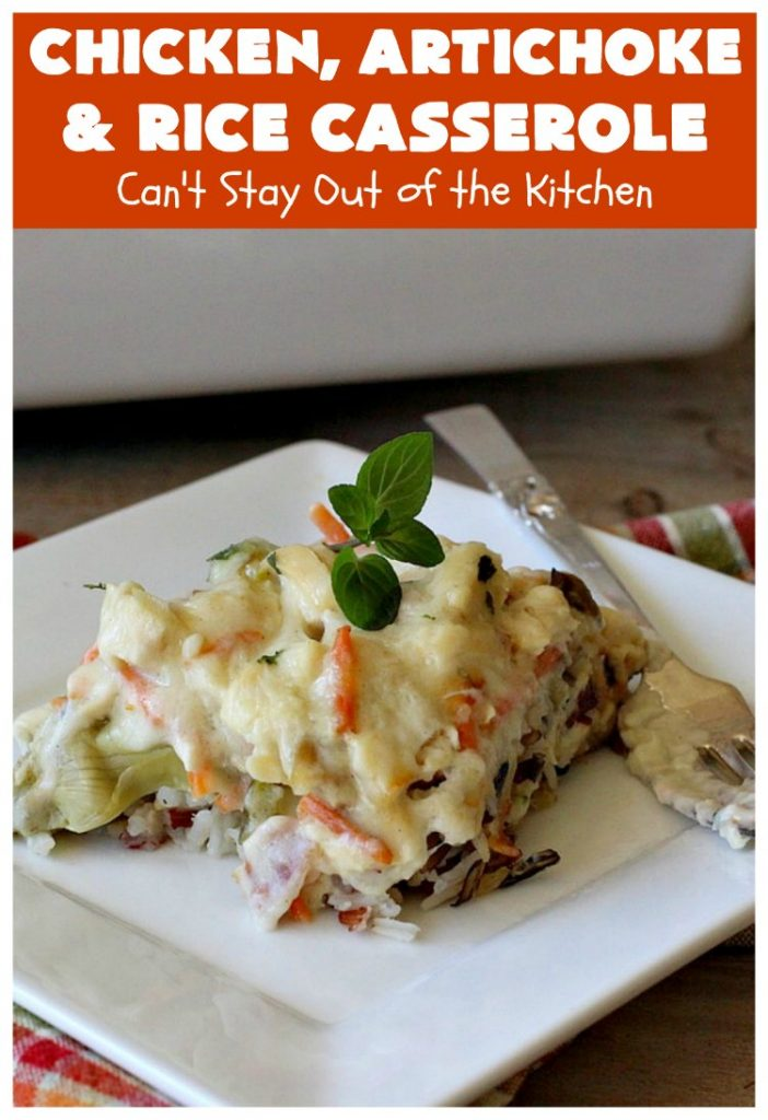 Chicken, Artichoke and Rice Casserole   Can't Stay Out of the Kitchen   this lovely #ChickenCasserole is perfect for company & tastes utterly amazing. #chicken #rice #carrots #artichokes #casserole #ChickenArtichokeAndRiceCasserole