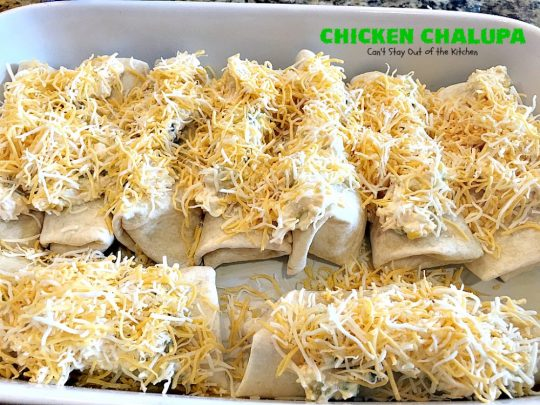 Chicken Chalupa | Can't Stay Out of the Kitchen | this fabulous #TexMex entree is filled with #corn #chicken #greenchilies #olives & lots of #cheese. One of the BEST #enchilada style recipes you'll ever eat.