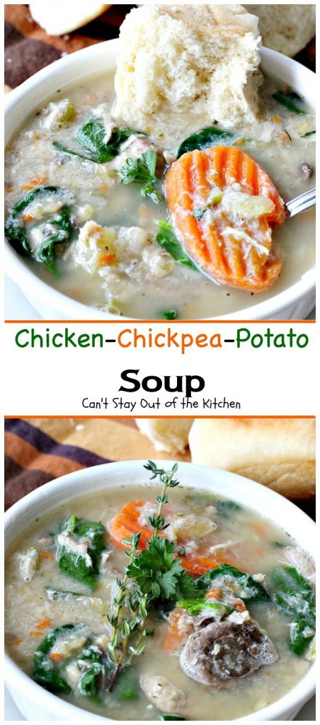 Chicken-Chickpea-Potato Soup | Can't Stay Out of the Kitchen | hearty, satisfying comfort food that's so easy because it's made in the #slowcooker. Especially great on cold winter nights. #chicken #soup #glutenfree