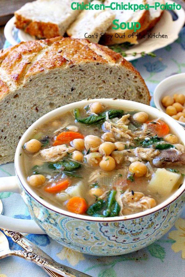 Chicken-Chickpea-Potato Soup | Can't Stay Out of the Kitchen | this spectacular #soup is made in the #crockpot. So easy, so delicious, and healthy too! #chicken #glutenfree