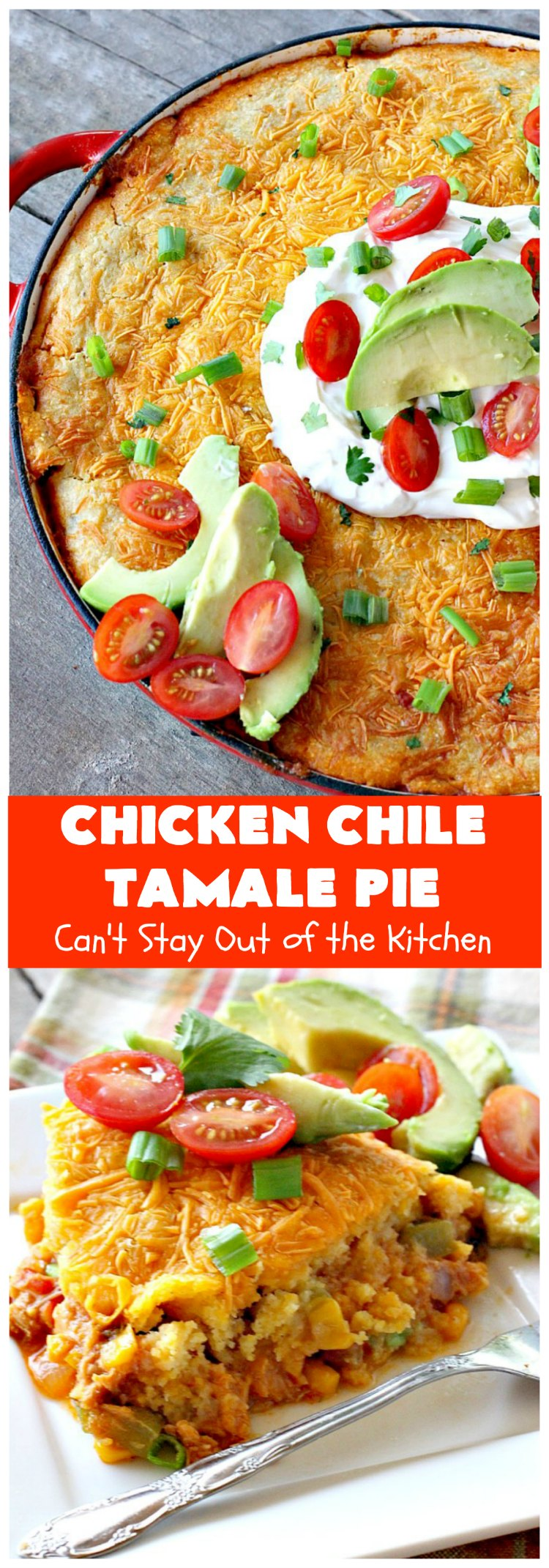 Chicken Chile Tamale Pie | Can't Stay Out of the Kitchen | this amazing #TamalePie tastes absolutely fantastic. It's perfect for #tailgating parties & potlucks. So mouthwatering you won't be able to stop eating it! #chicken #avocados #corn #olives #cheese #glutenFree #TexMex #tamales #ChickenChileTamalePie