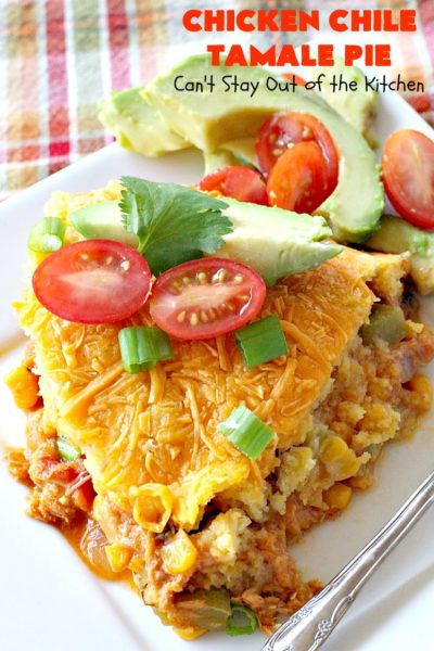 Chicken Chile Tamale Pie | Can't Stay Out of the Kitchen | this amazing #tamale pie tastes absolutely fantastic. It's perfect for #tailgating parties & potlucks. #chicken #avocados #corn #olives #cheese #glutenfree