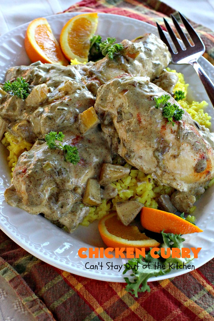 Chicken Curry | Can't Stay Out of the Kitchen | one of our favorite #chicken entrees. This one is made with a delicious #curry sauce with #apples & served over saffron-flavored rice. So succulent & amazing.