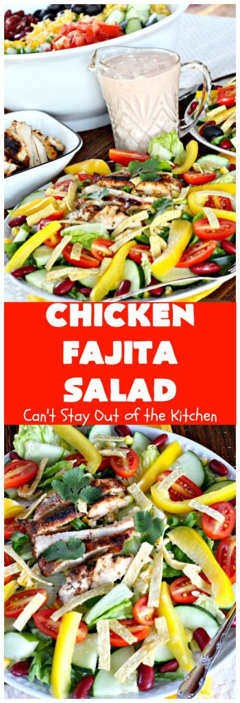 Chicken Fajita Salad | this fantastic #TexMex #salad is wonderful for a main dish meal. It's particularly nice for hot summer nights when you don't want to heat your kitchen! Great for company dinners too. This will soon become your go-to #TacoSalad #recipe! #chicken #glutenfree #CincodeMayo