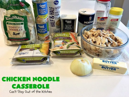 Chicken Noodle Casserole | Can't Stay Out of the Kitchen | this is one of the BEST #chickennoodlecasserole #recipes ever! It includes #Amish #noodles, #corn, #peas, #carrots & Cream of Mushroom soup. Amazing comfort food. #chicken #maindish #chickencasserole #casserole
