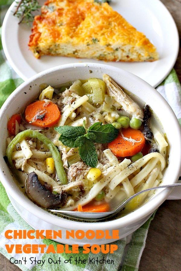 Chicken Noodle Vegetable Soup   Can't Stay Out of the Kitchen   this home-style #soup is absolutely scrumptious. It's made with #Amish #noodles, #chicken #carrots, #corn, #greenbeans & #peas. This is perfect comfort food for fall. #chickensoup #chickennoodlesoup