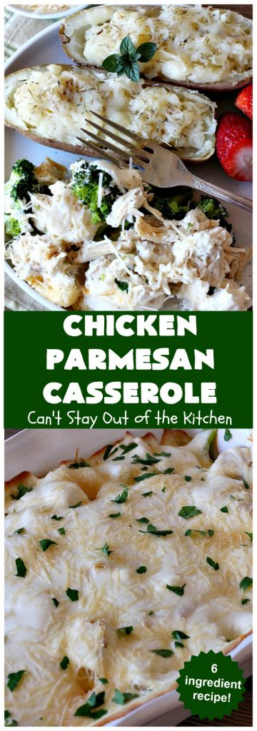 Chicken Parmesan Casserole | Can't Stay Out of the Kitchen | this delectable 6 ingredient #recipe is so creamy since it's made with #CreamCheese & #ParmesanCheese. It's the perfect #casserole for #MothersDay or #FathersDay. #chicken #broccoli #ChickenParmesanCasserole #GlutenFree