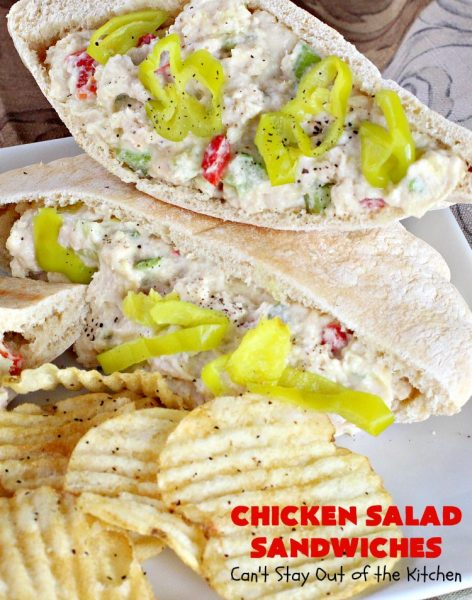 Chicken Salad Sandwiches | Can't Stay Out of the Kitchen | these fantastic #sandwiches are stuffed in #PitaPockets & garnished with mild pepper rings. Best #ChickenSalad ever! Every time we make these sandwiches they get rave reviews. #ChickenSaladSandwiches #Chicken #FavoriteChickenSaladRecipe
