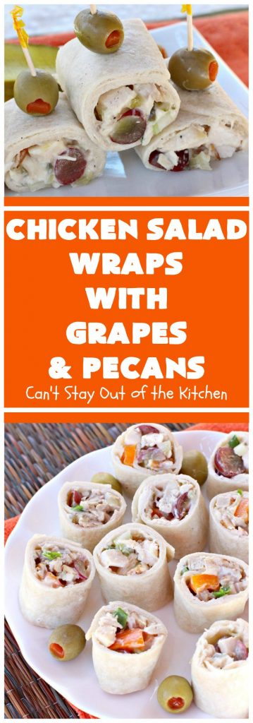 Chicken Salad Wraps with Grapes and Pecans | Can't Stay Out of the Kitchen | these fantastic #wraps are some of the best #ChickenSaladWraps you'll ever eat. These are crunchy & delicious & include #pecans and #grapes. Terrific for #tailgating parties, potlucks, office lunches & quick weekend meals when you're busy attending your kid's soccer games. #Salad #ChickenSalad #sandwiches #tortillas #ChickenSaladWrapsWithGrapesAndPecans #ChickenSaladSandwiches