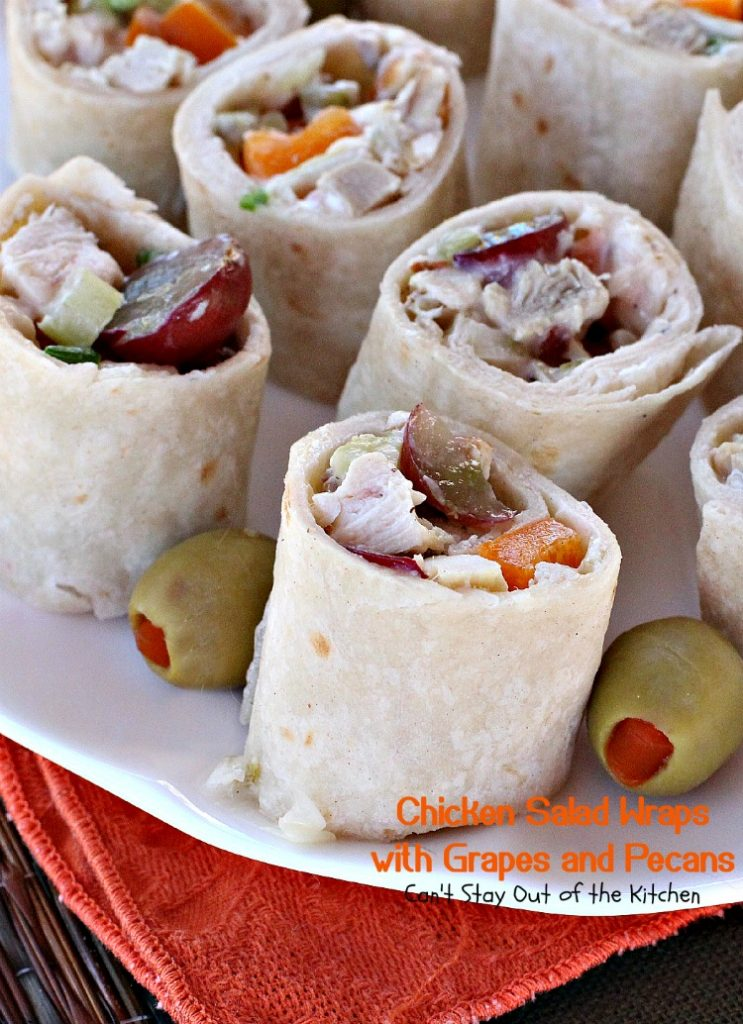 Chicken Salad Wraps with Grapes and Pecans | Can't Stay Out of the Kitchen | delicious and crunchy #appetizer or #sandwich. Great way to serve #chickensalad. #chicken #grapes #pecans